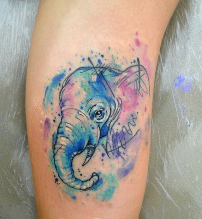 elefant watercolor tattoo ideen bein tätowierung