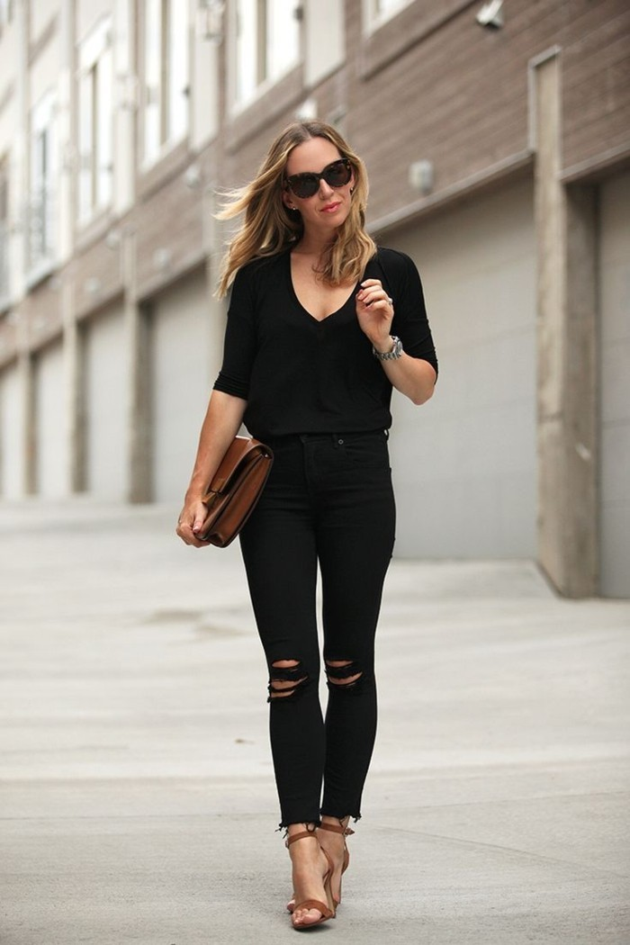 elegantes outfit schwarze jeanshose ripped