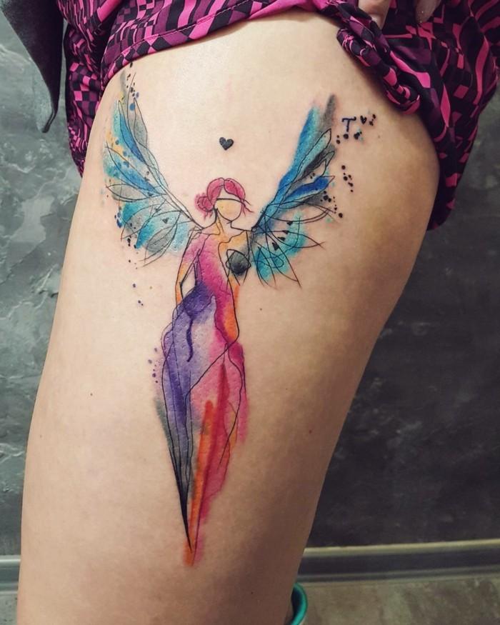 engel tattoo idee watercolor tätowierung