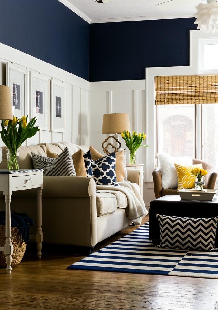 farben naval im wohnzimmer mit weiß kombinieren