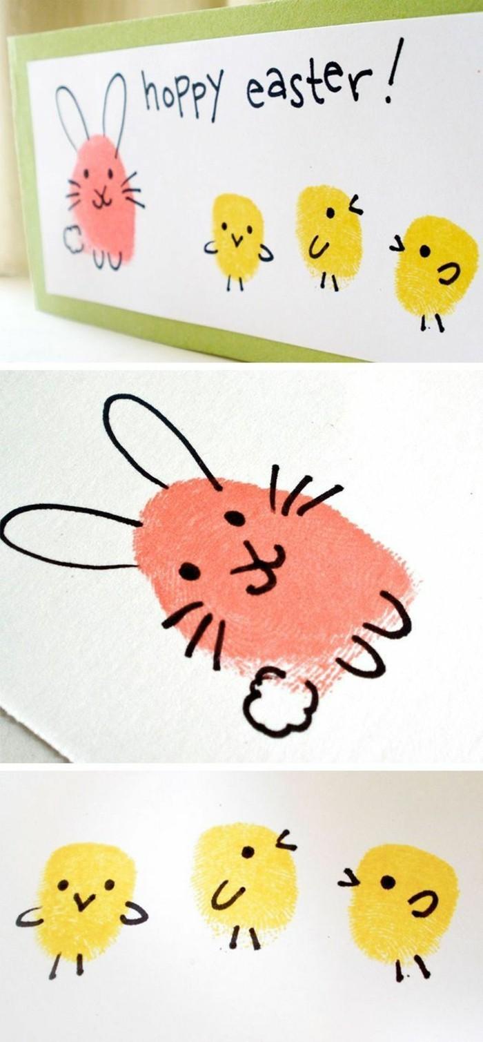 fingerabdruck bilder lustige ideen für kücken und hasen