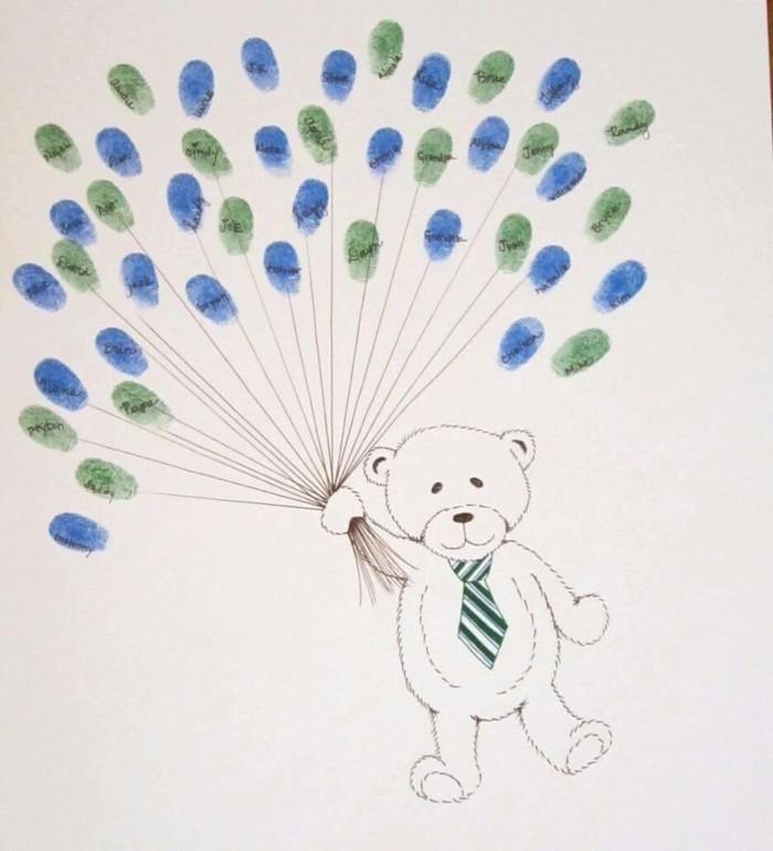 fingerabdruck bilder mit vorlage bär mit ballons