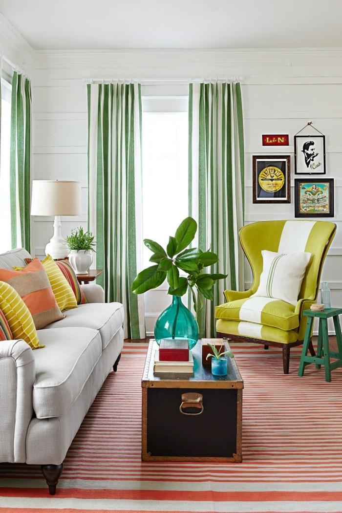 gardinen grüne streifenmuster einrichtungsideen