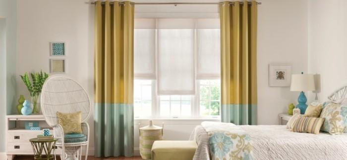 gardinen schlafzimmer ausgefallenes gardinenmuster in gelb grün