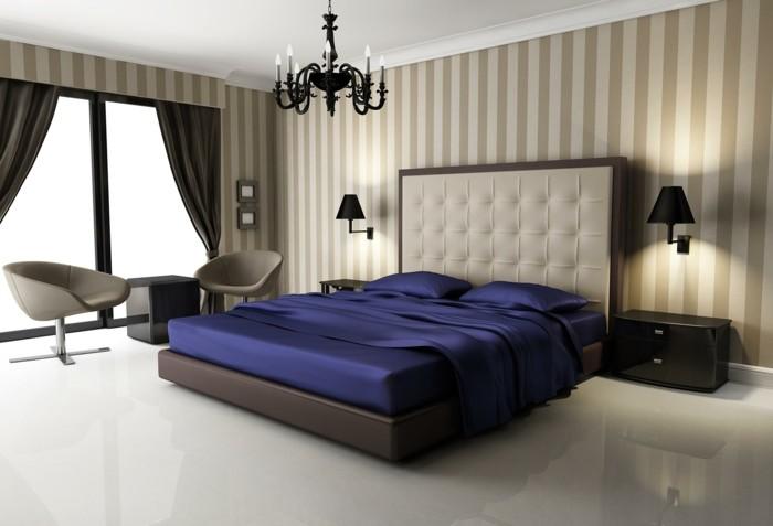 wohnideen schlafzimmer helles interieur mit dunkelbraunen gardinen