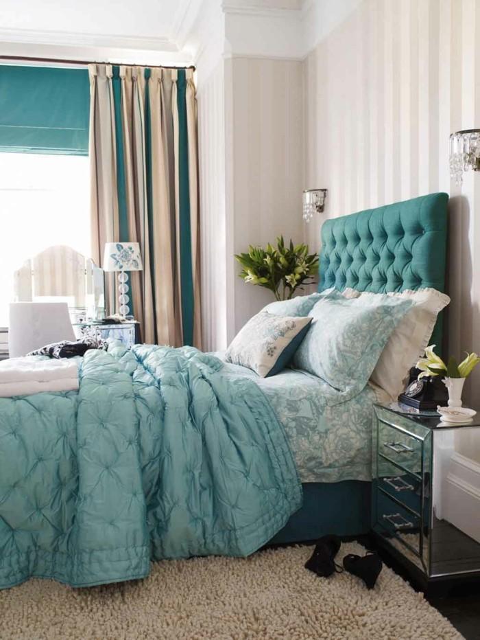 gardinen schlafzimmer streifen in grün beige die sich toll ins innendesign einschreiben
