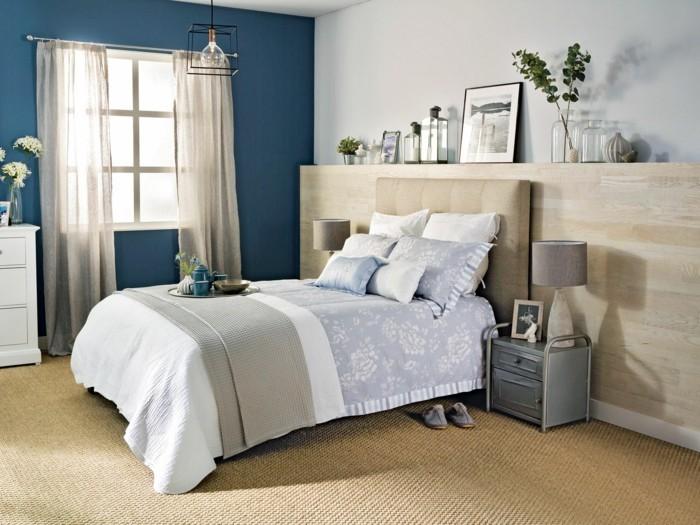 gardinen schlafzimmer transparente gardinen und dunkelblaue wandfarbe