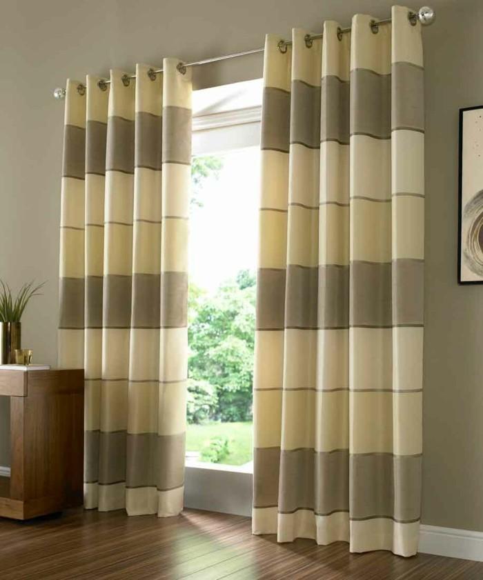 gardinen streifen braun und beige