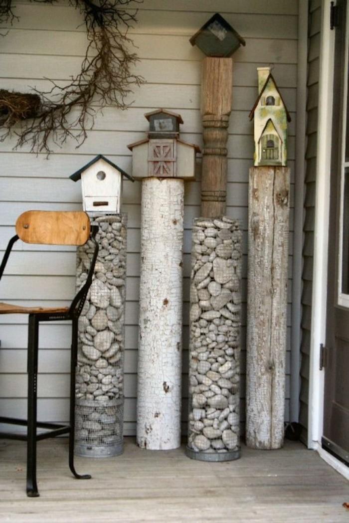 gartendeko basteln naturmaterialien holz und stein verwenden für die kreativen diy projekten