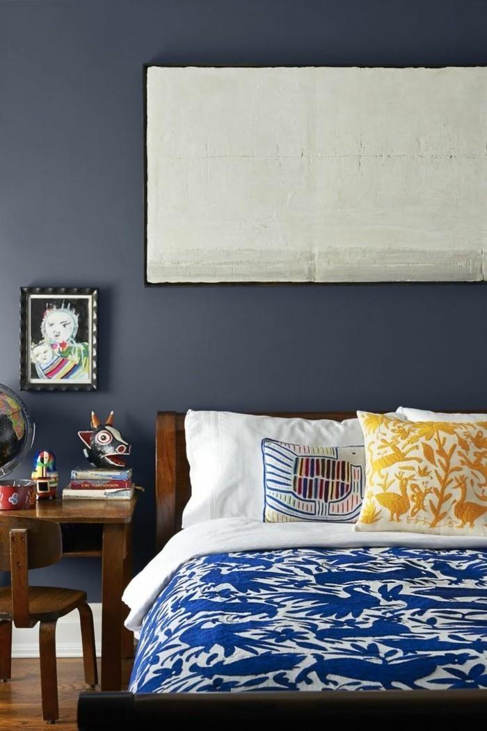 graue wände blautöne schlafzimmer
