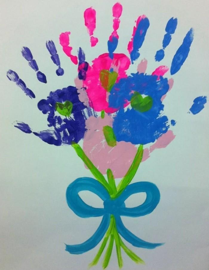 handabdruck bilder blumenstrauß aus handabdrücken