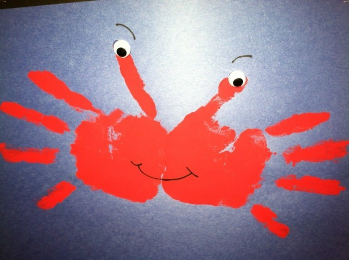 handabdruck bilder krabbe aus handabdrücken von kindern