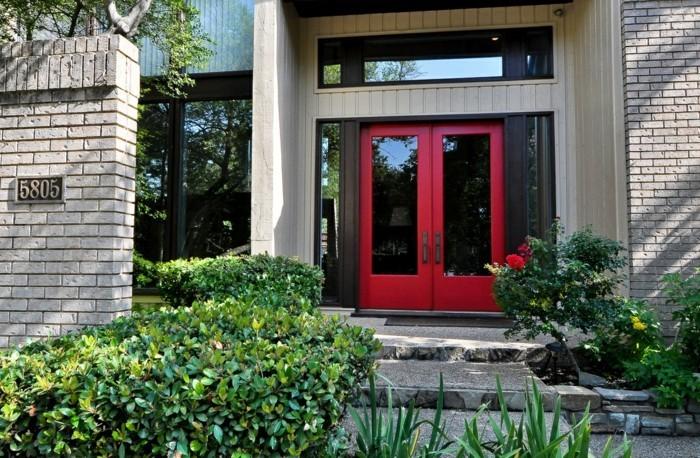 haustüren rote eingangstür mit glas fesselt den blick