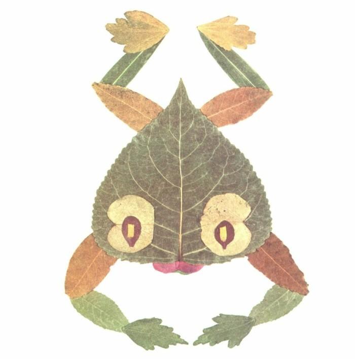 herbstblätter bastelideen diy deko frosch