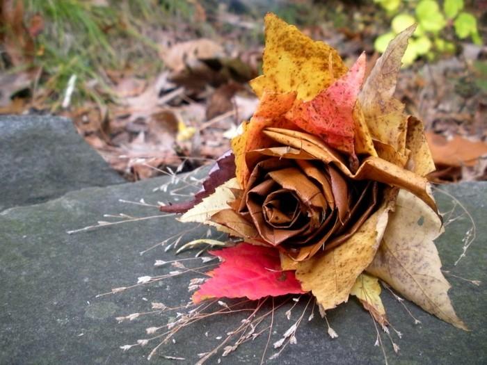 herbstblätter bastelideen diy deko rose