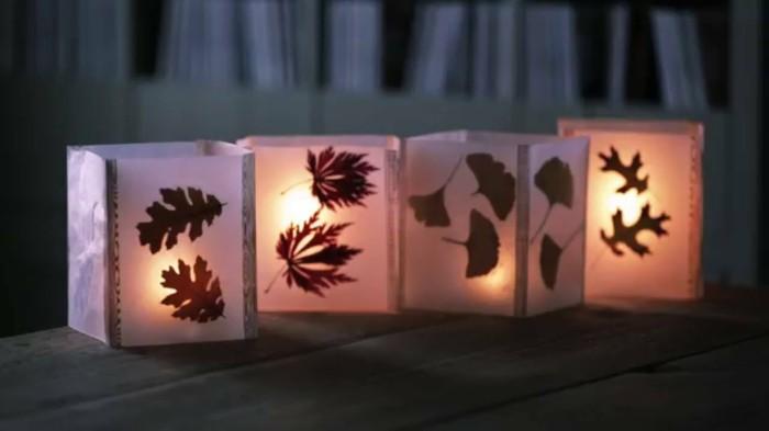 herbstblätter bastelideen diy deko windlichter basteln herbstdeko selber machen
