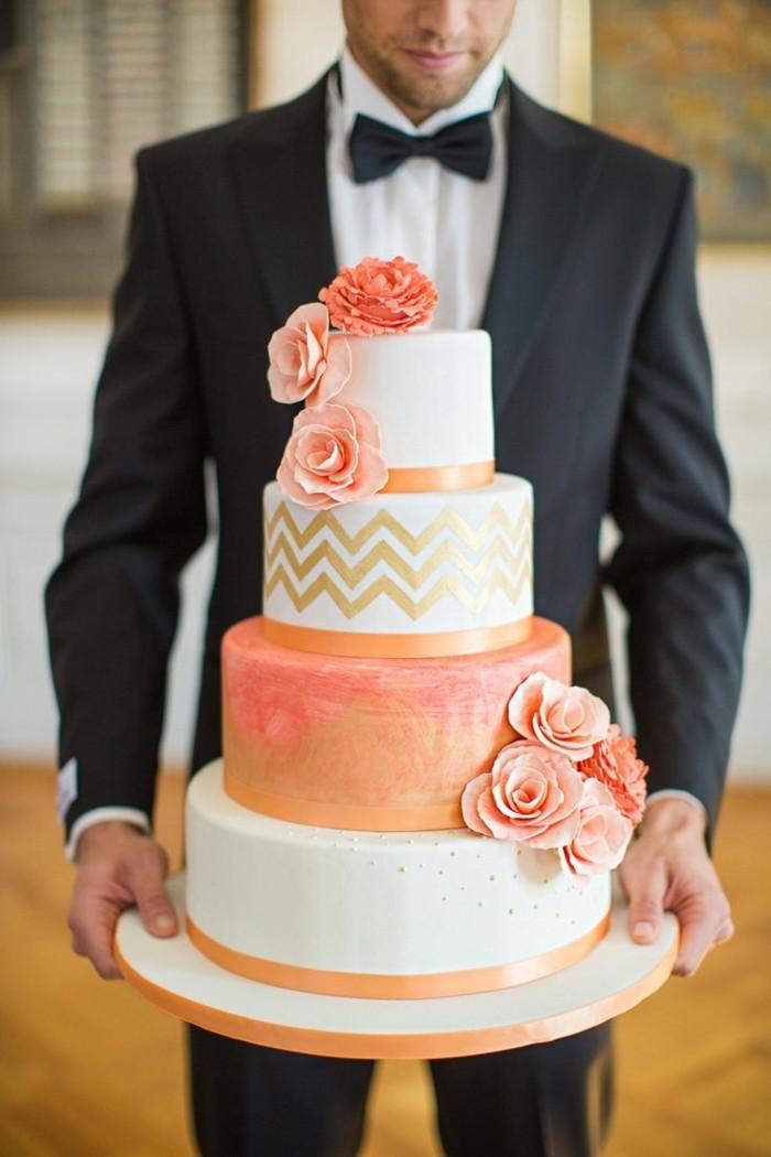 hochzeitstorte bilder torte in orangenuancen