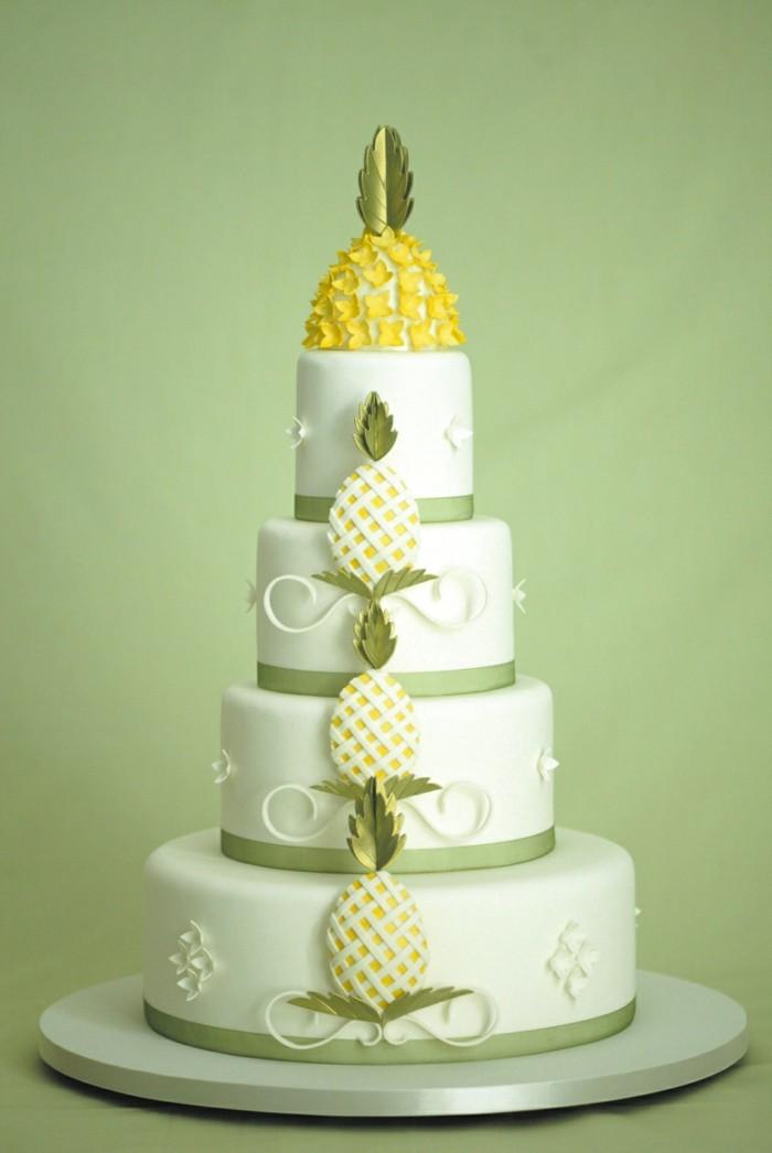 hochzeitstorten ananas deko sommerliche torte