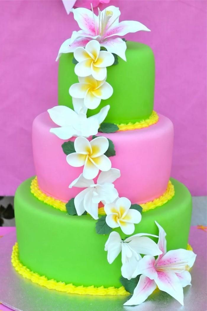 hochzeitstorten farbige torte in hawaiistil
