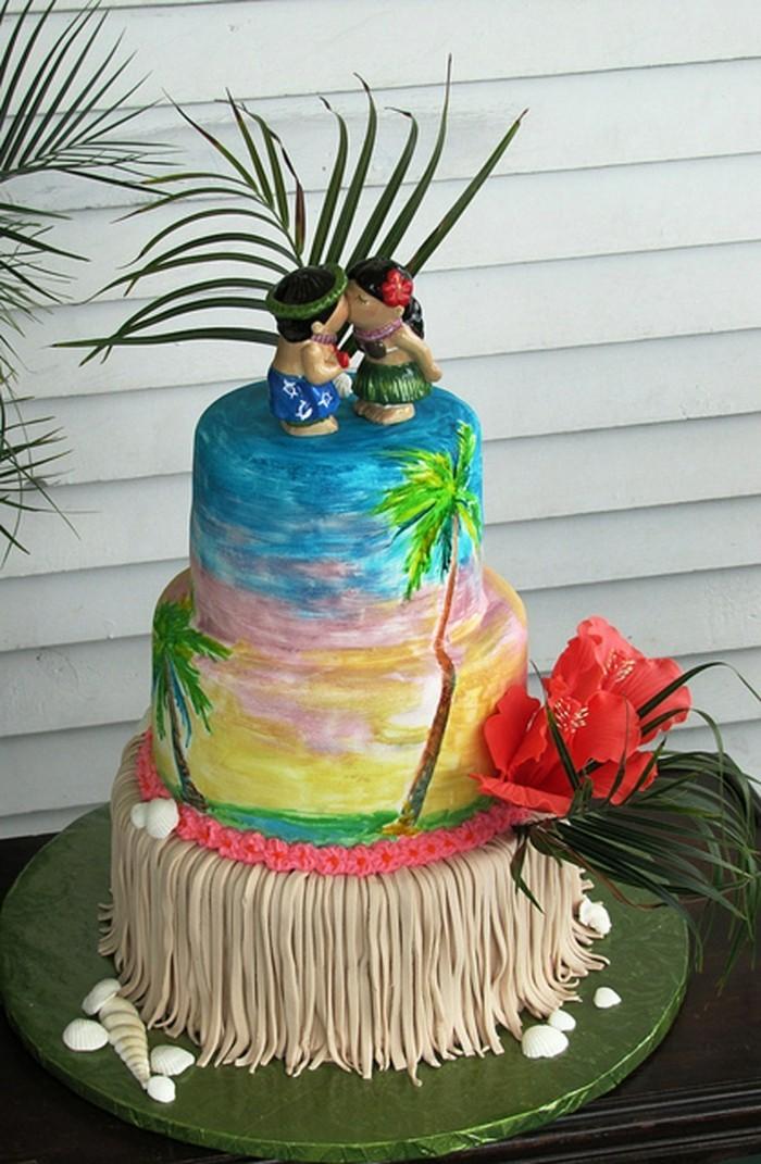 hochzeitstorten hawaii dekoration