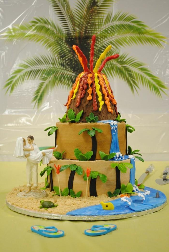 hochzeitstorten tortendeko im tropischen stil für den sommer