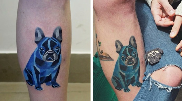 hund watercolor tattoo bein
