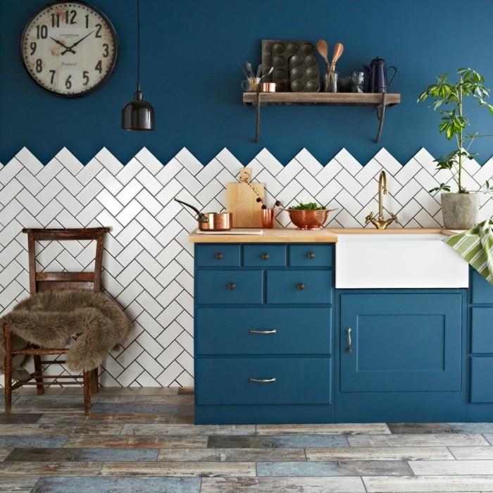 küche modern einrichten blautöne