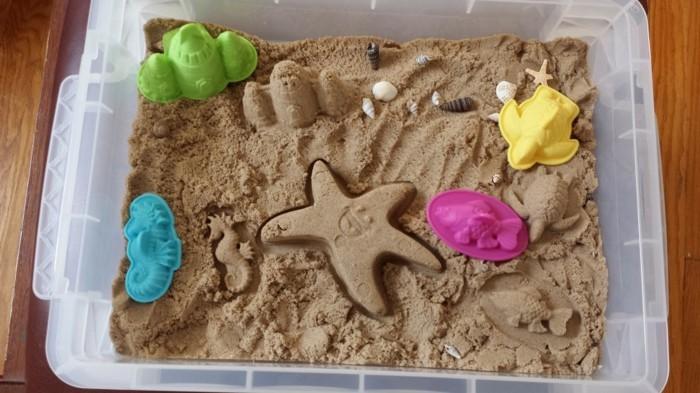 kinetischen sand selber machen sandkasten plastik strandspielzeug