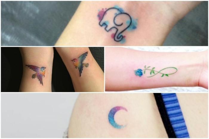 kleine tattoos watercolor ideen frauen tätowierung