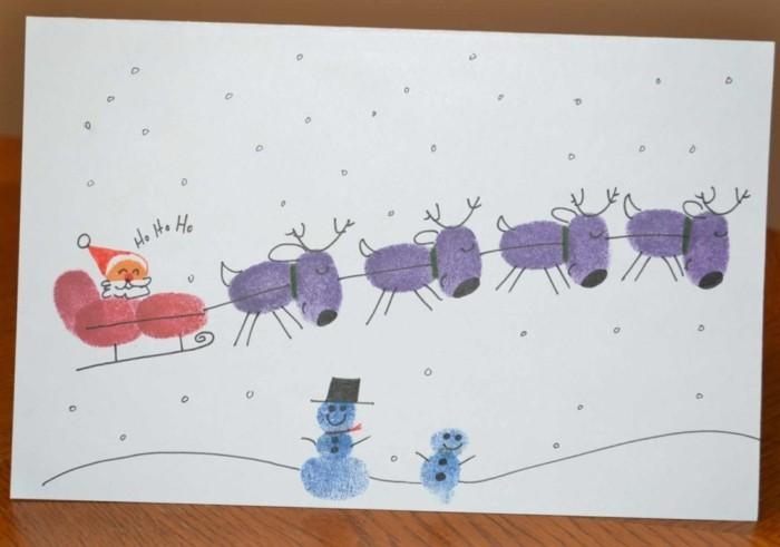 kreative bastelideen für kinder weihnachtskarte mit fingerabdrücken