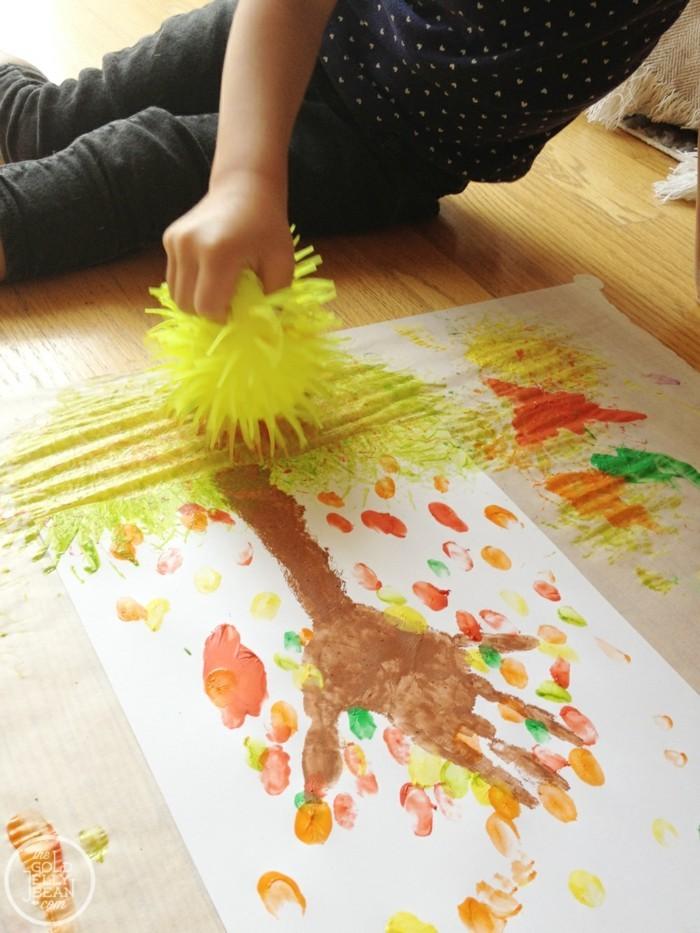 kreative bastelideen ideen für die kleinen mit fingerabdrücken
