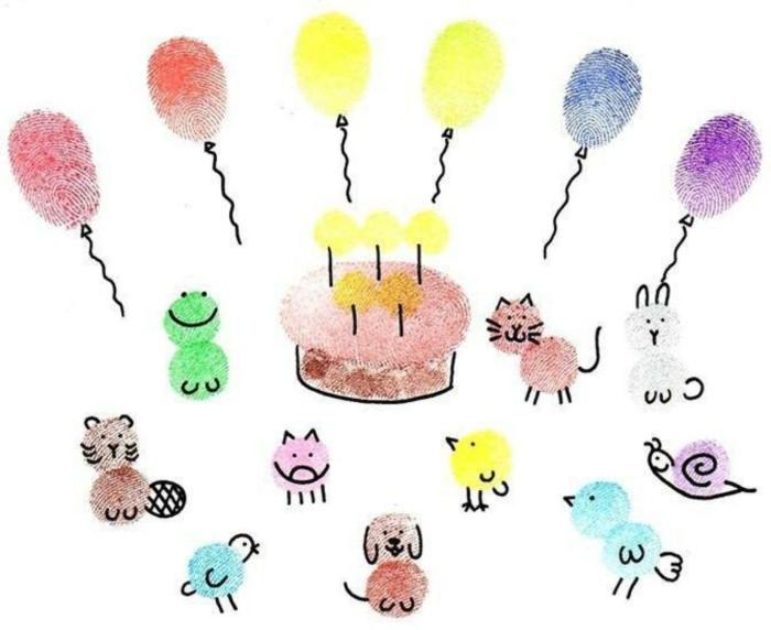 kreative bastelideen mit fingerabdrücken eine party wiedergeben