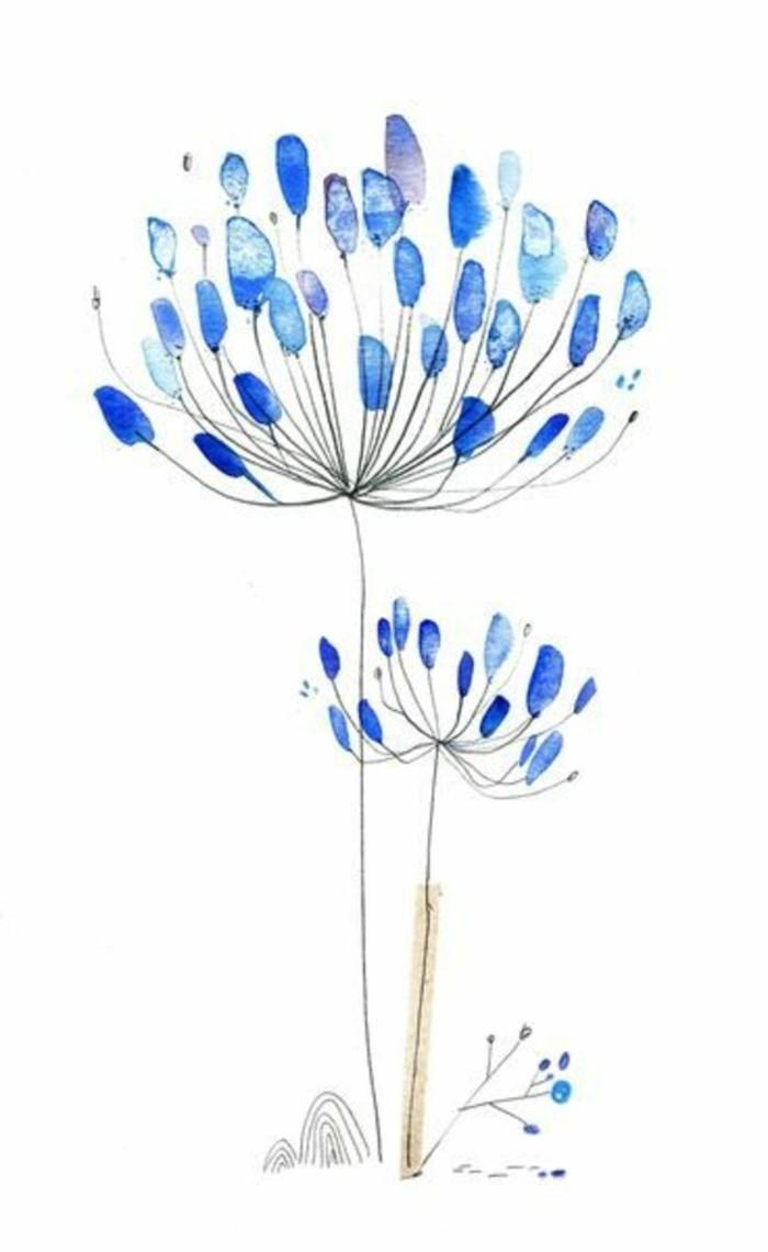 kreative bastelideen pusteblume aus fingerabdrücken