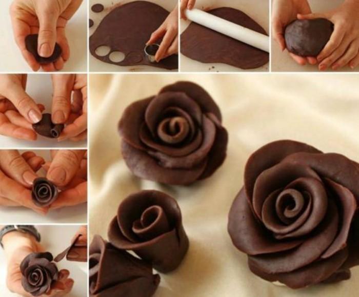 modellierschokolade zartbitter rose basteln