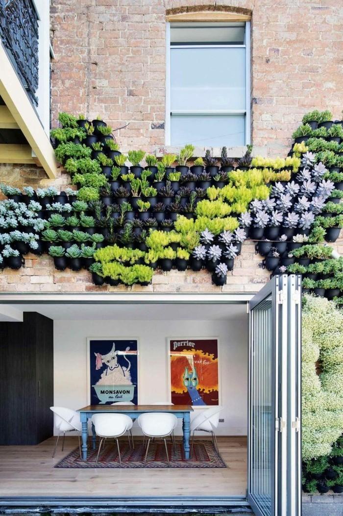 moderne terrassengestaltung schöner vertikaler garten