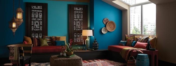 moderne wandgestaltung blautöne wohnzimmer