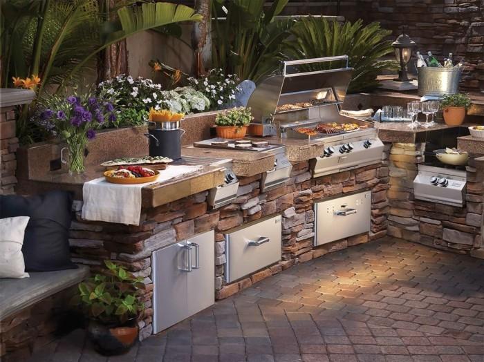 outdoor küche ausgefallene gartenküche aus stein und stahl
