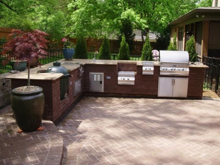 outdoor küche moderne außenküche mit ziegeln