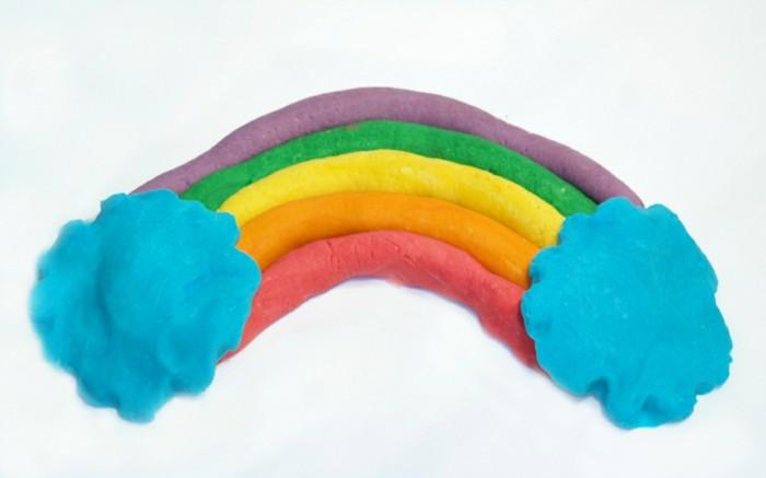 regenbogen basteln mit knete selber machen kinderspiel ideen