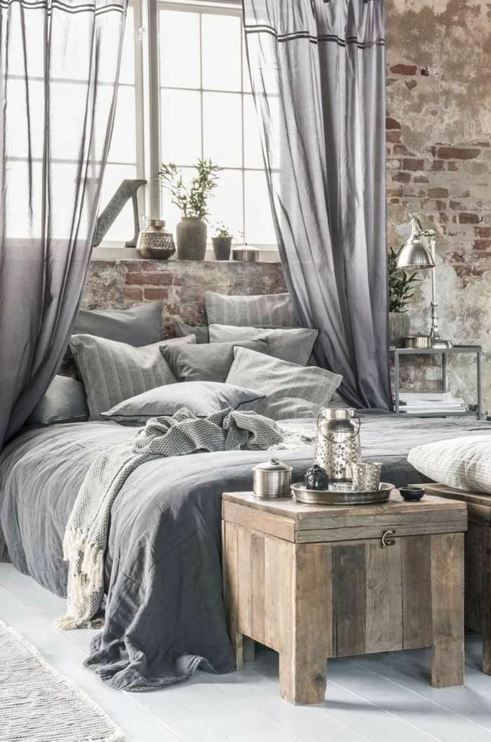 schlafzimmer einrichten durchsichtige gardinen in grau