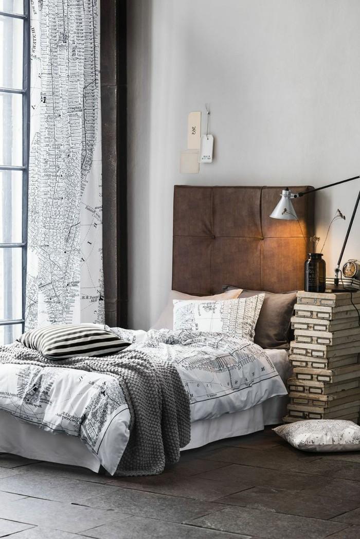 schlafzimmer einrichten gardinenmuster für einen männlichen schlafzimmer look