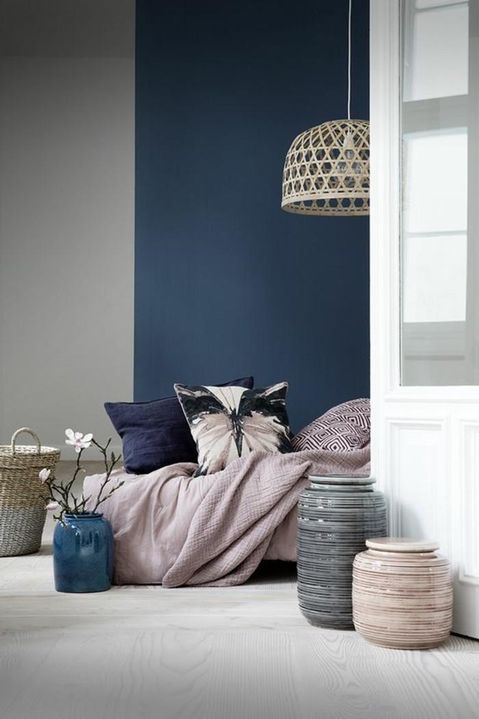 Schlafzimmergestaltung Blau Und Grau Kombinieren Und Durch Rosa Aufpeppen