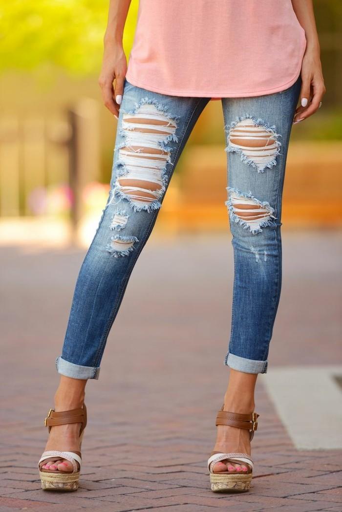 skinny jeanshose sommer denim destroyed look