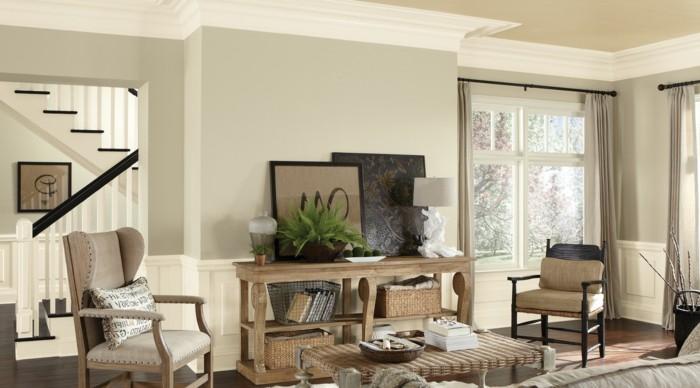 wandfarben Dover White im wohnzimmer mit flechtmöbeln dekorieren