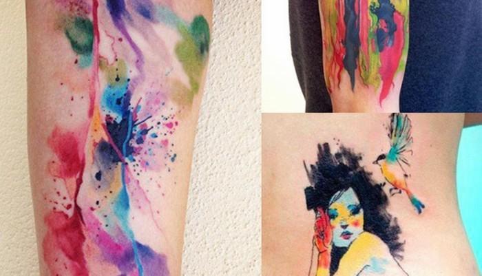 watercolor tattoo bunte farben tätowierung trend
