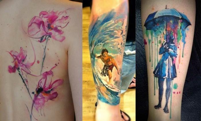 watercolor tattoos ideen wasserfarben tätowierung