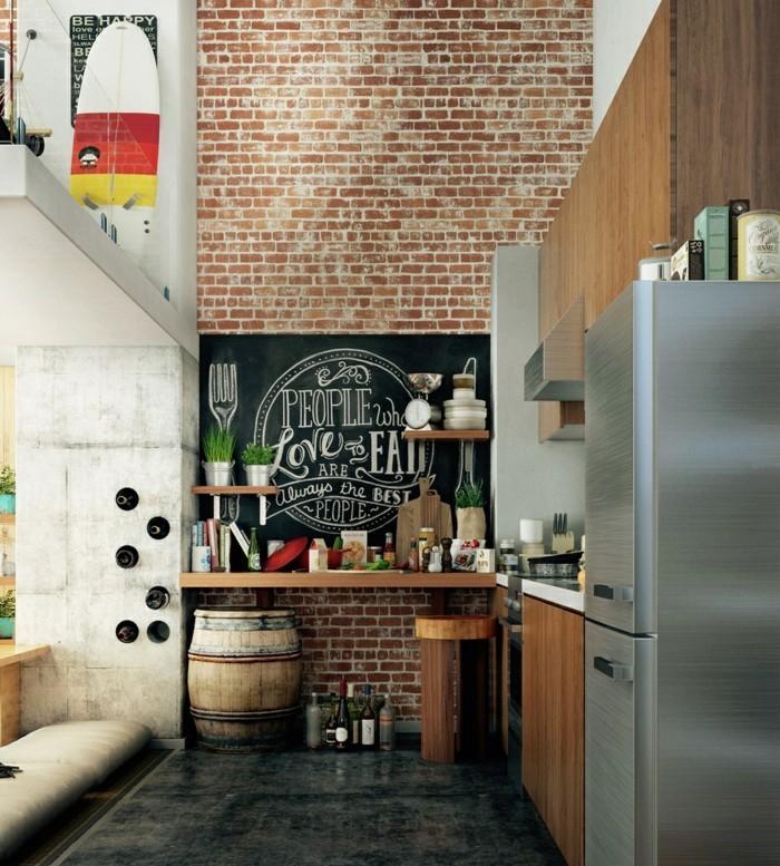 wohnideen küche backsteinwand erfrischt das interieur