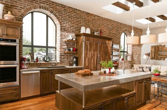 wohnideen küche backsteinwand ud funktionale kücheninsel