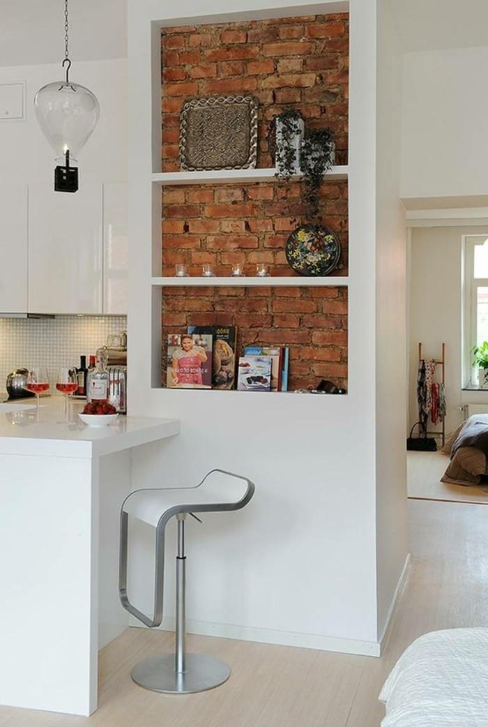 wohnideen küche schöne akzente setzen backsteinwand