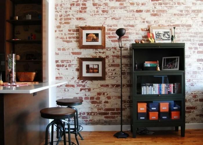 wohnideen küche schönes wanddesign wertet den raum auf